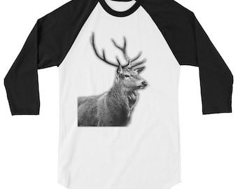Buck Print 3/4 sleeve raglan shirt