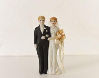 Vintage Wedding Cake Topper - Bride and Groom Topper - 1940s Wedding Cake Topper - Made in Japan - Handpainted Retro Cake Topper - Art Deco