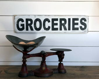 Farmhouse Groceries Sign  | Farmhouse Decor | Wood Signs | Groceries Sign | Fixer Upper | Primitive Sign | Rustic Sign