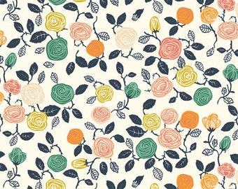 Hidden Garden Roses Cream by Miriam Bos for Birch Fabrics, Quilting Cotton, Organic Poplin - Half Yard or By the Yard