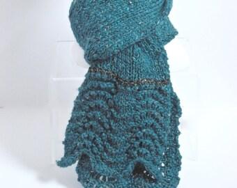 Wool Alpaca Scarf in Teal Tweed