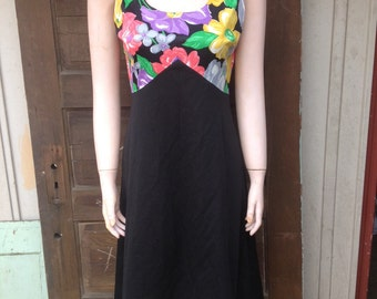 Vintage 70's Handmade Dress with Floral Bustier and Semi Sheer Black Bodice Size small/ medium