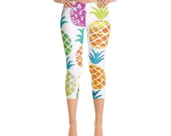 Tropical Pineapple Capri Leggings multi-color pattern