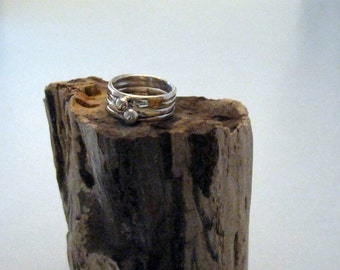 Two stackable sterling silver rings
