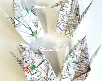 LAST SET 10 Mini Manhattan Vintage Maps Origami Cranes