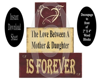 """Wood Blocks Decoupage Sheet Printable Instant Download DIY Mother Daughter Love Modge Podge Shelf Sitters Chunky Stackable 2"""" X 4"""""""