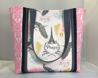 Pink Gray quilted tote bag, Paris themed with peacocks, lined including interior pockets