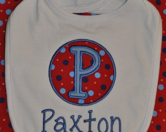 Personalized Baby Boy Bib in Red, White, and Blue