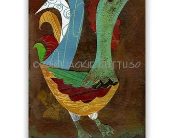 """Original rooster collage art, 5 x 7"""", Whimsical Chicken decor, Acrylic painting collage, Farm animal art, Bird collage, Farmhouse kitchen"""