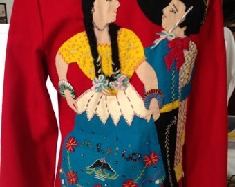Vintage Wool Mexican Red Applique Coat