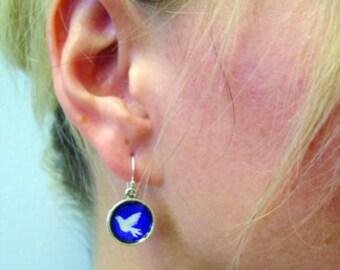Dove of Peace Earrings. Lovingly Handmade in Brooklyn by Wishing Well Studio.