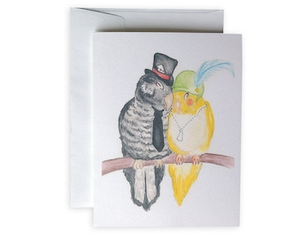 Flapper Love Birds Greeting Card or Notecard Set