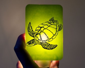 Turtle Nightlight on Green Fused Glass Night Light - Gift for Baby Shower or Nature Lover - Nautical Sea Turtle on bright neon lime colors