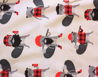 Burly Beavers by Andie Hanna for Robert Kaufman, Grey, Woodlands, Beavers, Cute Fabric for Crafting Quilting Sewing Kids Baby, Half Metre