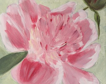 """Original Acrylic Painting Peony  6""""x6"""""""