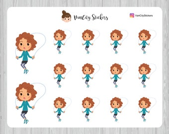 Skipping Stickers, Fitness Stickers, Stacy Stickers
