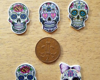 Set of 5 Day of the dead skulls