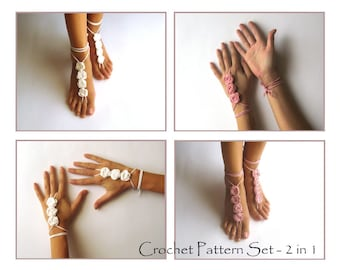 CROCHET PATTERN SET - Crochet Rose Cuffs Pattern Bridal Nude Shoes Tutorial Wedding Foot and Arm Jewelry Crochet Barefoot Sandals 2 in 1 Pdf