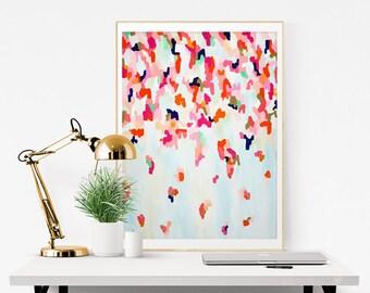 Leoni, Giclee Abstract Print, from Original Abstract Acrylic Painting 9x12 -24x32, pink abstract, blue abstract