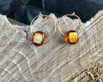 Brass bead hoop earrings