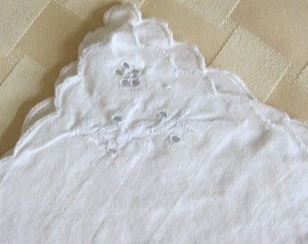 Set of Five Off White Vintage Napkins with White Embroidery