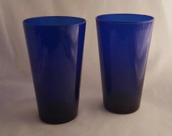 Glass Tumblers Cobalt Blue