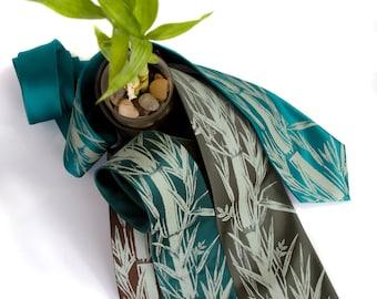 "Bamboo print necktie. ""Bamboozled."" Screenprinted botanical print men's tie. Sage green design. Choose standard or narrow microfiber."