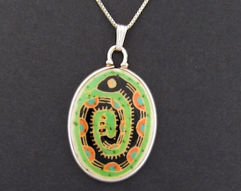 Snake Pendant (green) ostrich egg shell and sterling silver jewelry