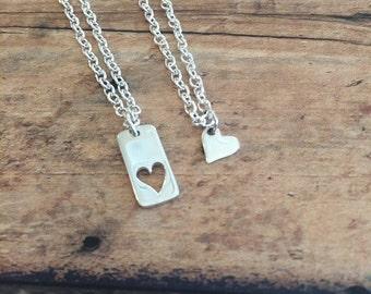 Mother Daughter Necklace Set, Heart Cutout Necklaces, Mommy and Me Jewelry, Mothers Day, Mother of the Bride, New Mom Gift, Sterling Silver