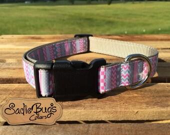 Pink Chevron dog collar, modern dog collar, polka dot dog collar