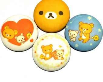 "covered button set  ""Rilakkuma-ish"" (4)  A good friend"