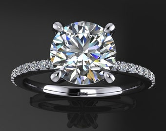 shay ring - 1.5 carat diamond cut round NEO moissanite engagement ring