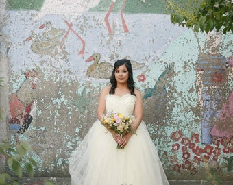 Off White Tulle Wedding Dress - Vintage Style Ball Gown - Kristine Style