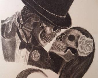 Dead love charcoal art.