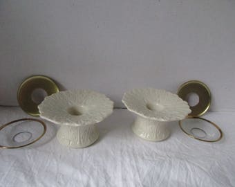 Lenox Candlestick Holders Ivory Leaf Design complete with drip holders Bobeches