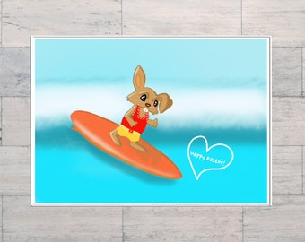 Easter Bunny Goes Surfing, Funny Easter, Surfing, Kid's Easter Card, Cartoon Easter Gift, Printable, Digital Download, Instant Download,