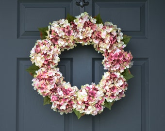 Blended Pink Hydrangea Wreath | Spring Door Wreath | Front Door Wreaths | Summer Wreath | Housewarming Gift | Door Decor
