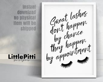 Beauty salon decor, lashes print, eyelashes print, lashes wall art, beauty print, Great lashes, digital print, beauty salon wall art