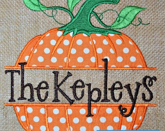 Custom Monogrammed Burlap Garden Flag Personalized with Name Fall Pumpkin