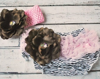 SALE Zebra/Light Pink/Chocolate Brown Flower Bloomers with Matching Headband Set. Size Large Only.