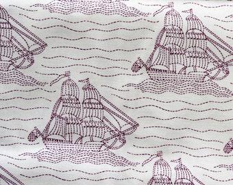 Cream Fabric, Sailing Ships Fabric, 2 Yards, Brown Cream Fabric, Grapic Fabric, Marcus Textiles, Creme Fabric, Boat Fabric