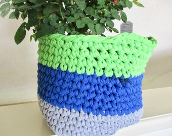 Spring Green and Blue Crochet Basket - Upcycled T Shirt Bin