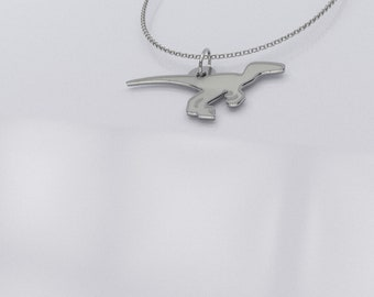 Velociraptor Charm Necklace - Dinosaur Charm Necklace - .925 Sterling Silver Dinosaur Jewelry