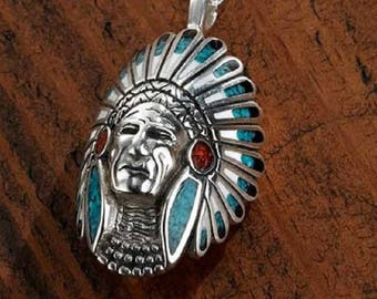 Multi Color Indian Head Pendant
