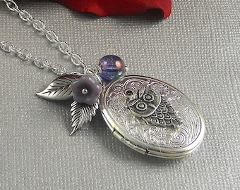 Silver Ellipse Bird Owl Locket, Victorian Inspired Leaf, Amethyst, Purple Botanical Locket- OPA