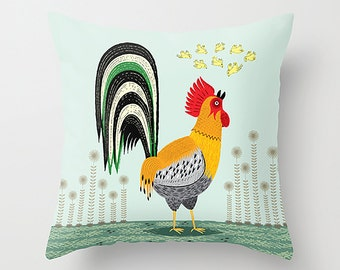 When The Rooster Crows - throw pillow cover including insert  by Oliver Lake - iOTA iLLUSTRATiON