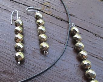 Hematite pyrite, gold tone dangle earrings and necklace
