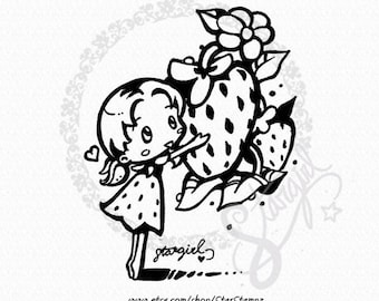 Spring Strawberry DIGITAL STAMP Instant Download