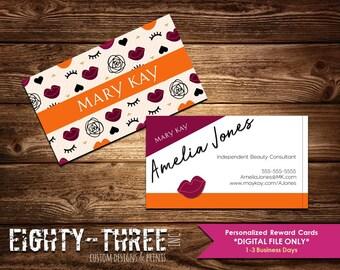 Mary Kay Business Card - CUSTOM - lips/flowers/lashes