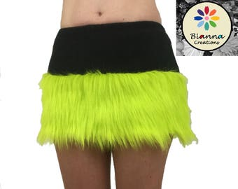 Faux Fur and Fleece skirt, Neon Lime Green Black Animal Cosplay Anime Convention Rave Outfit Costume Gear Dress Up, mini-skirt